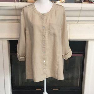 Stunning natural linen blouse w/open crochet